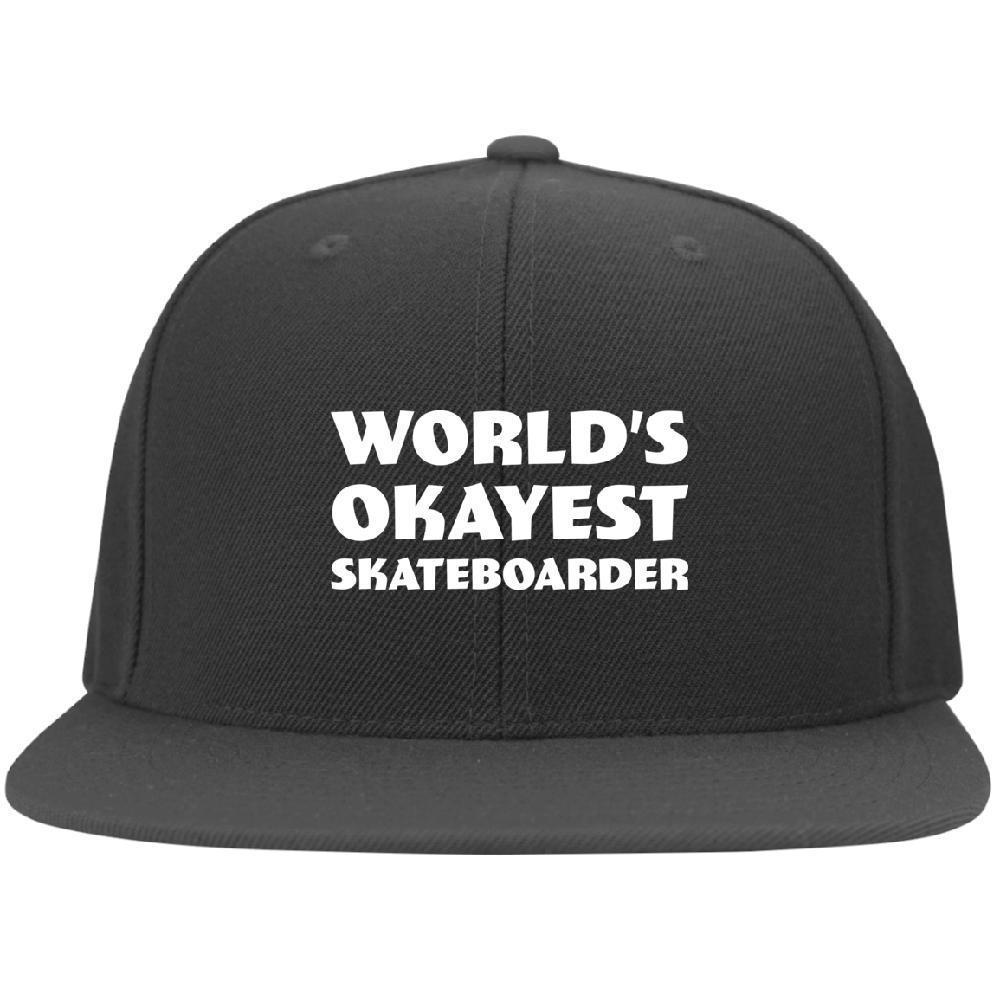 World Okayest Skateboarder Flat Bill Cap - Longboards USA