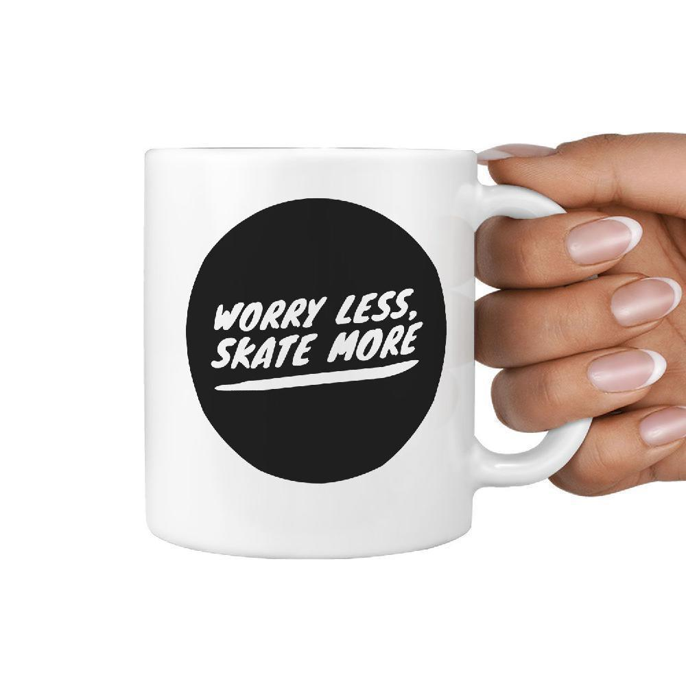 Worry Less Skate More | Funny Skateboarding Coffee Mug Gift Idea - Longboards USA