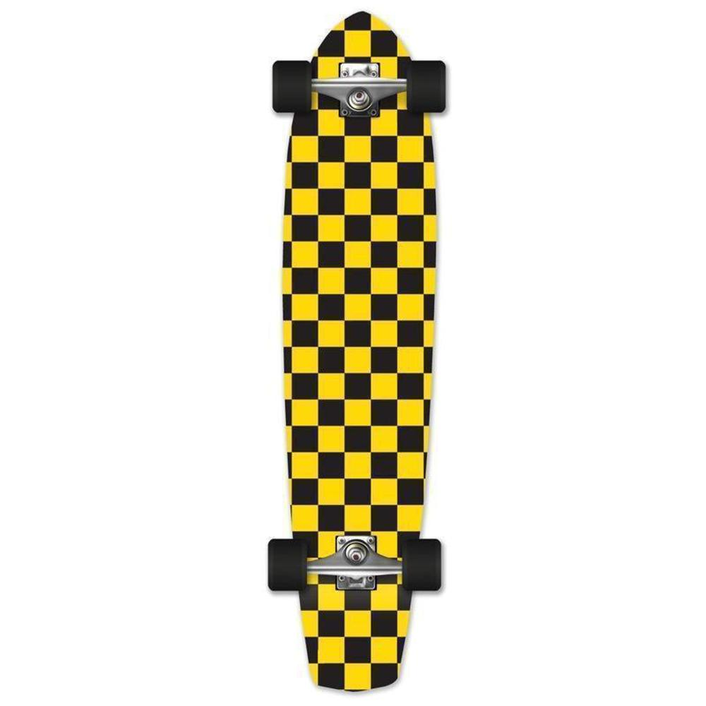 "Yellow Checkered 36"" Slimkick Longboard from Punked - Complete - Longboards USA"