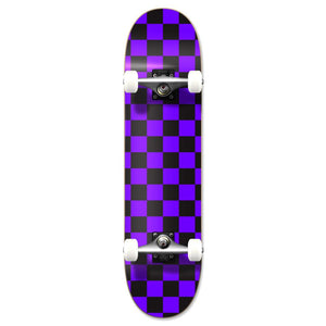 Yocaher Graphic Complete Skateboard - Checker Purple - Longboards USA