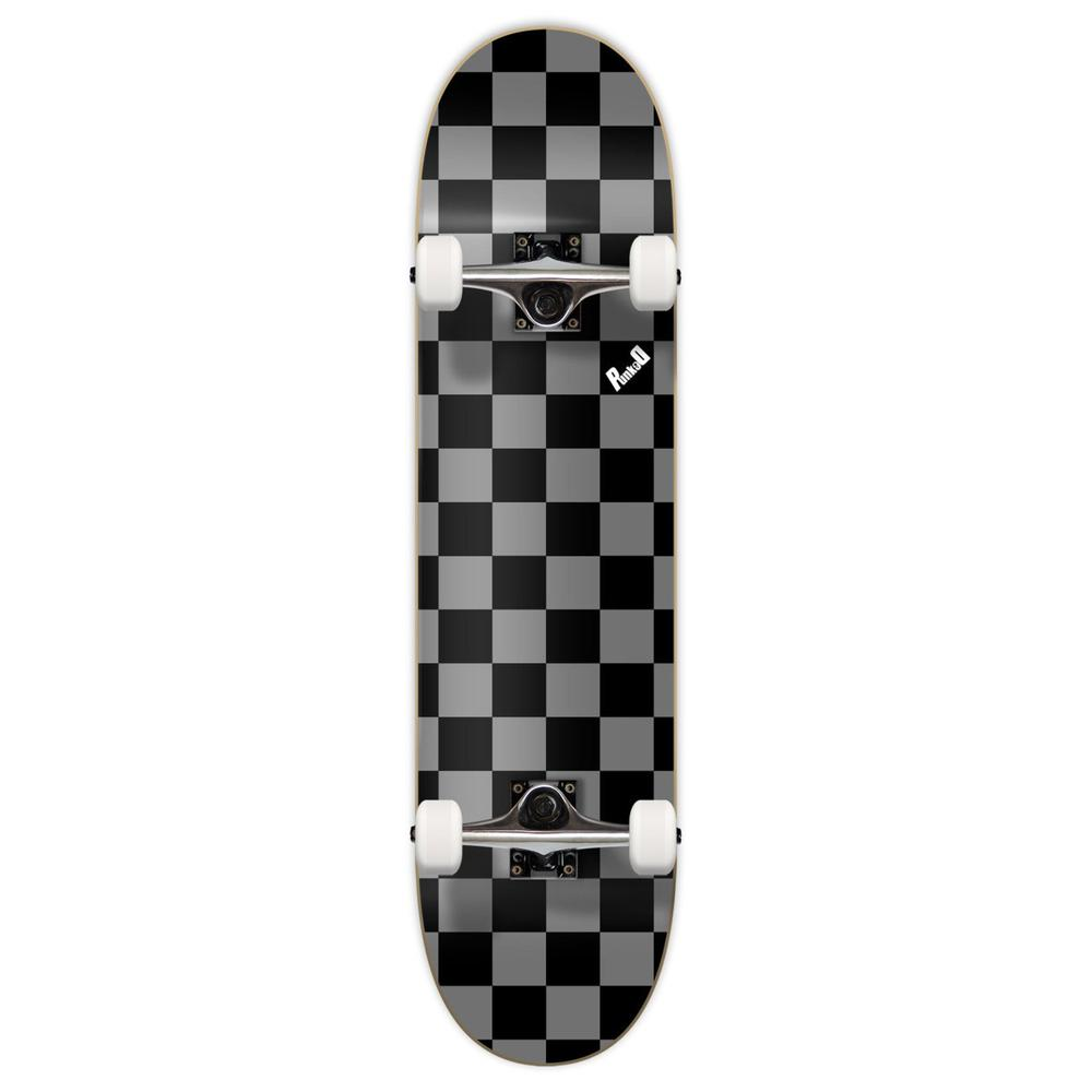 Yocaher Graphic Complete Skateboard - Checker Silver - Longboards USA