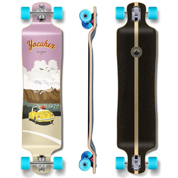 Yocaher Lowrider Longboard Complete - VW Bettle Series - Yellow - Longboards USA