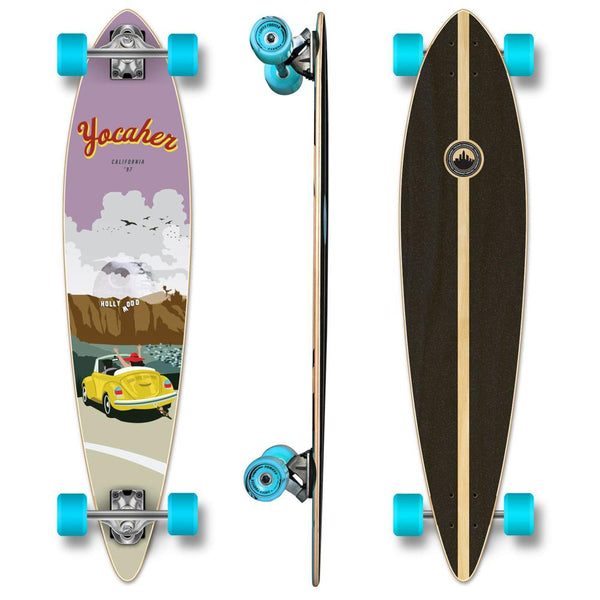 Yocaher Pintail Longboard Complete - VW Bettle Series - Yellow - Longboards USA