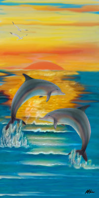 "Dolphin Sunset - 10"" Top"
