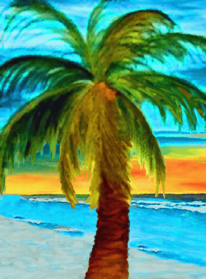 "Palm Tree Sunset - 6.75"" Top"