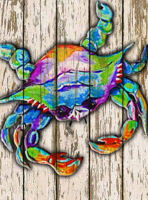 "Party Crab on Wood - 6.75"" Top"