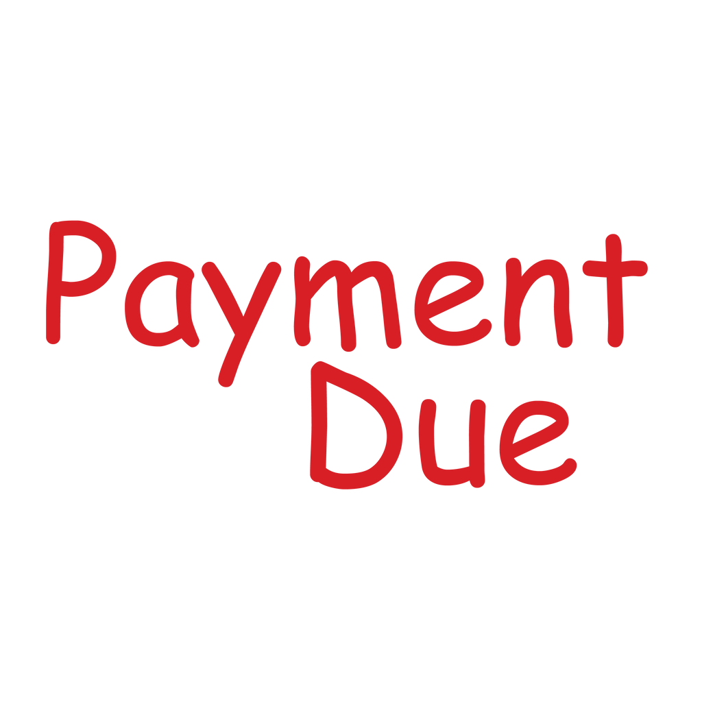Handwriting PAYMENT DUE Stamp