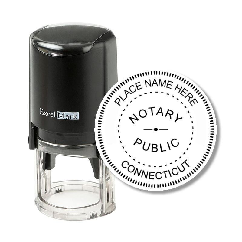 Round Self-Inking Connecticut Notary Stamp