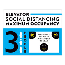 Maximum Occupancy of 3 Elevator Sign