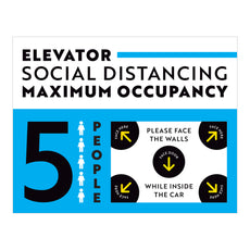 Maximum Occupancy of 5 Elevator Sign