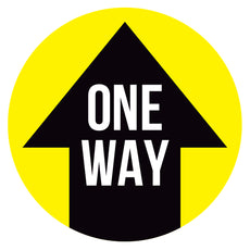 Yellow One Way Arrow Floor Decal
