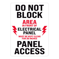 Do Not Block Area In Front of Electrical Panel Warehouse Safety Sign