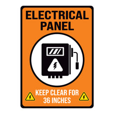 Orange Electrical Panel Keep Clear 36 Inches Warehouse Safety Sign
