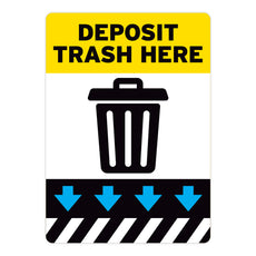 Yellow Deposit Trash Here Warehouse Safety Sign