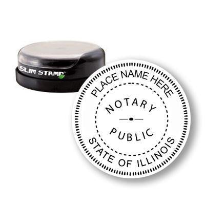 Round Slim Illinois Notary Stamp