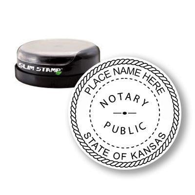 Round Slim Kansas Notary Stamp