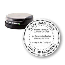 Round Slim Michigan Notary Stamp