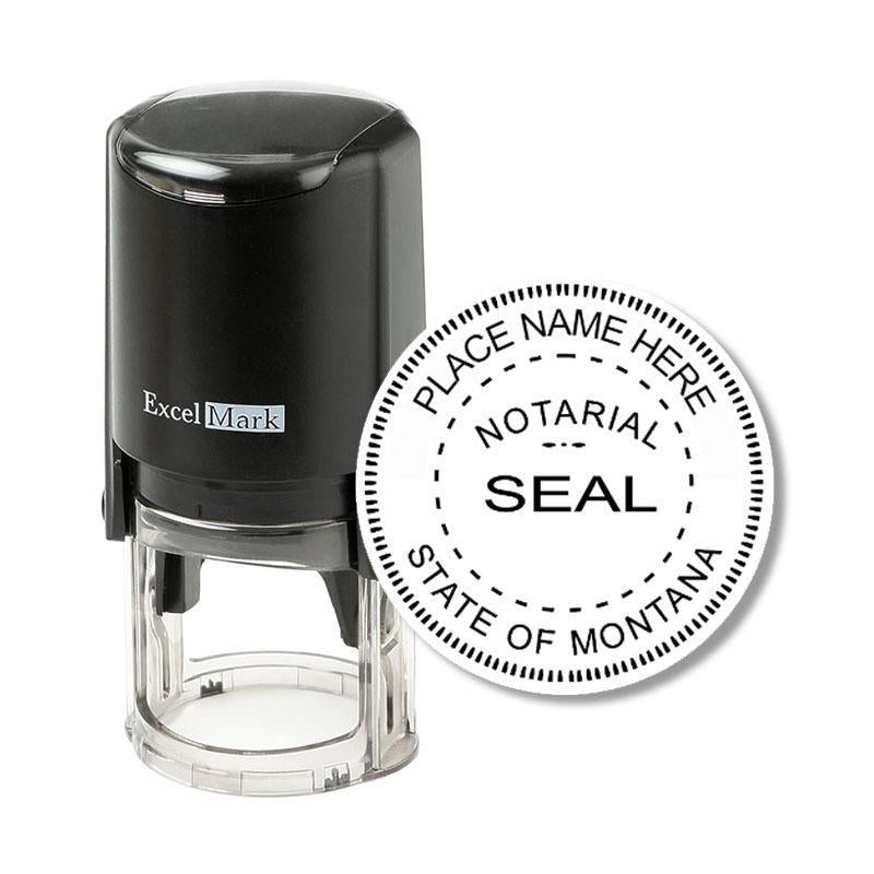 Round Self-Inking Montana Notary Stamp