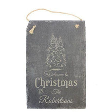 Welcome Christmas Engraved Slate Sign