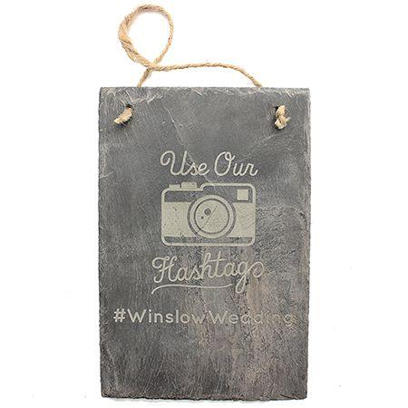 Hashtag Engraved Slate Sign