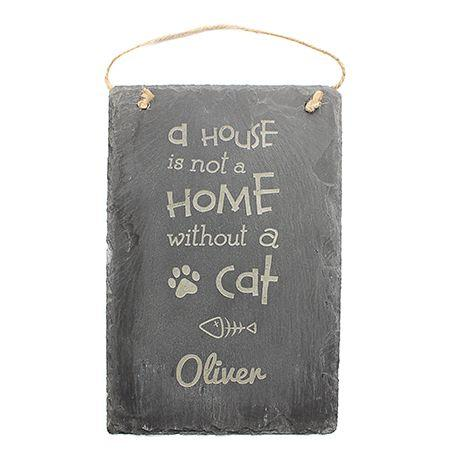 Cat Engraved Slate Sign