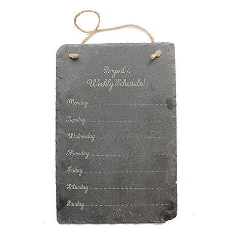 Weekly Schedule Engraved Slate Sign