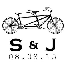 Double Bicycle Save The Date Stamp