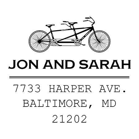 Double Bicycle Address Stamp