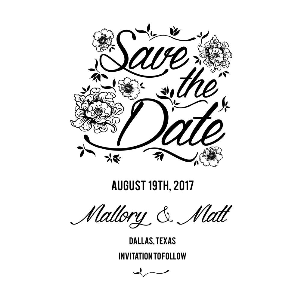 Vintage Floral Save The Date Stamp