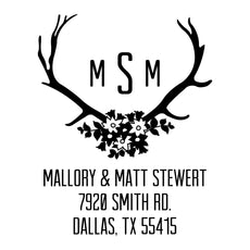 Floral Antler Monogram Address Stamp