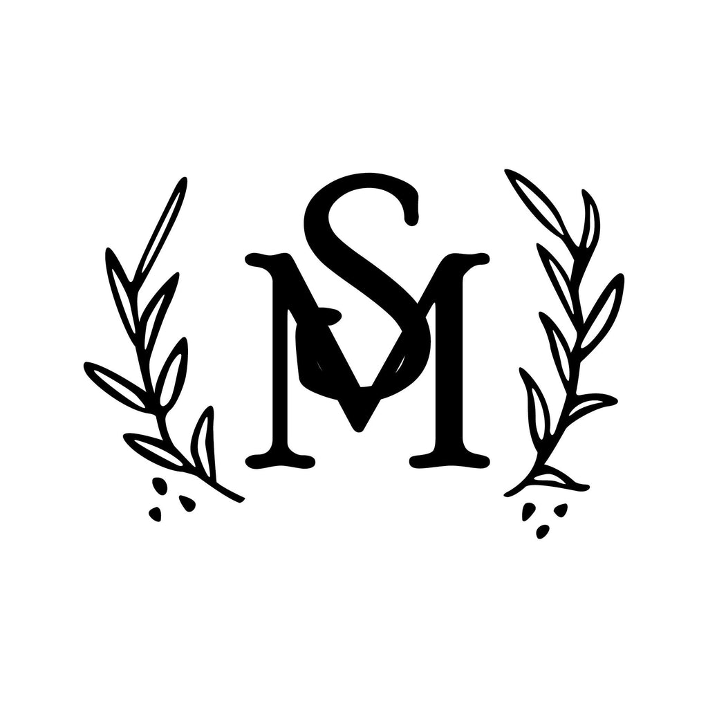 Olive Branch Overlap Monogram Stamp