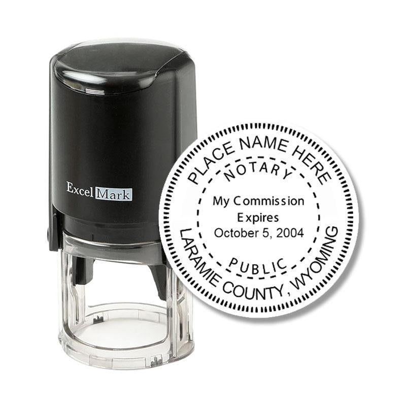 Round Self-Inking Wyoming Notary Stamp