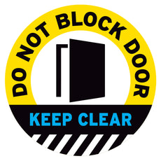 Yellow Do Not Block Door Keep Clear Floor Decal
