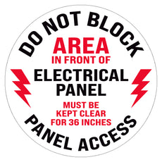 Do Not Block Area In Front of Electrical Panel Floor Decal