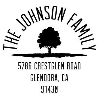 Rounded Family Tree Address Stamp