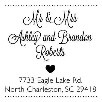 Mr and Mrs Heart Address Stamp