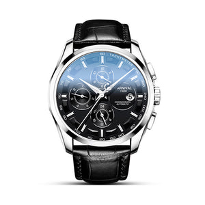 Men Leather Mechanical & Waterproof Wrist Watch - tntongadgets