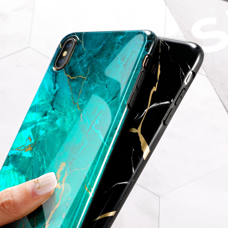 Marble Phone Case White Blue - tntongadgets
