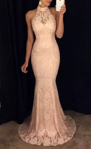 Lace Light Colored Formal Dress