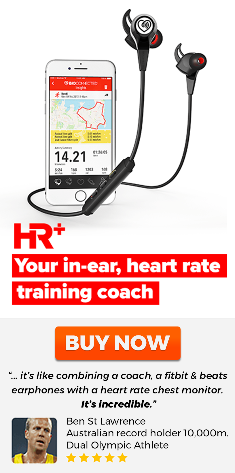 HR+ Biosensing Sports Earphones with built in heart rate