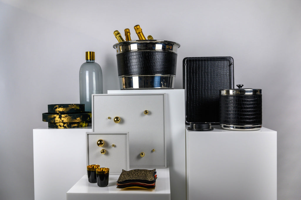 Giobagnara leather champagne holder, large ice bucket, trays and valets