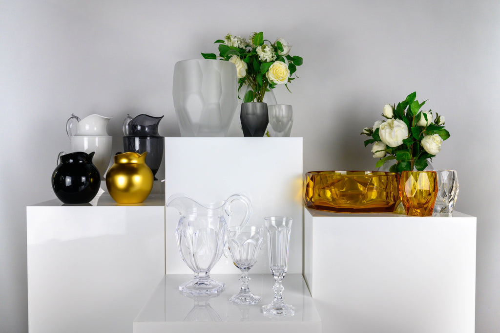 Mario Luca Giusti synthetic crystal or acrylic tableware, acrylic glasses, jugs and bowls