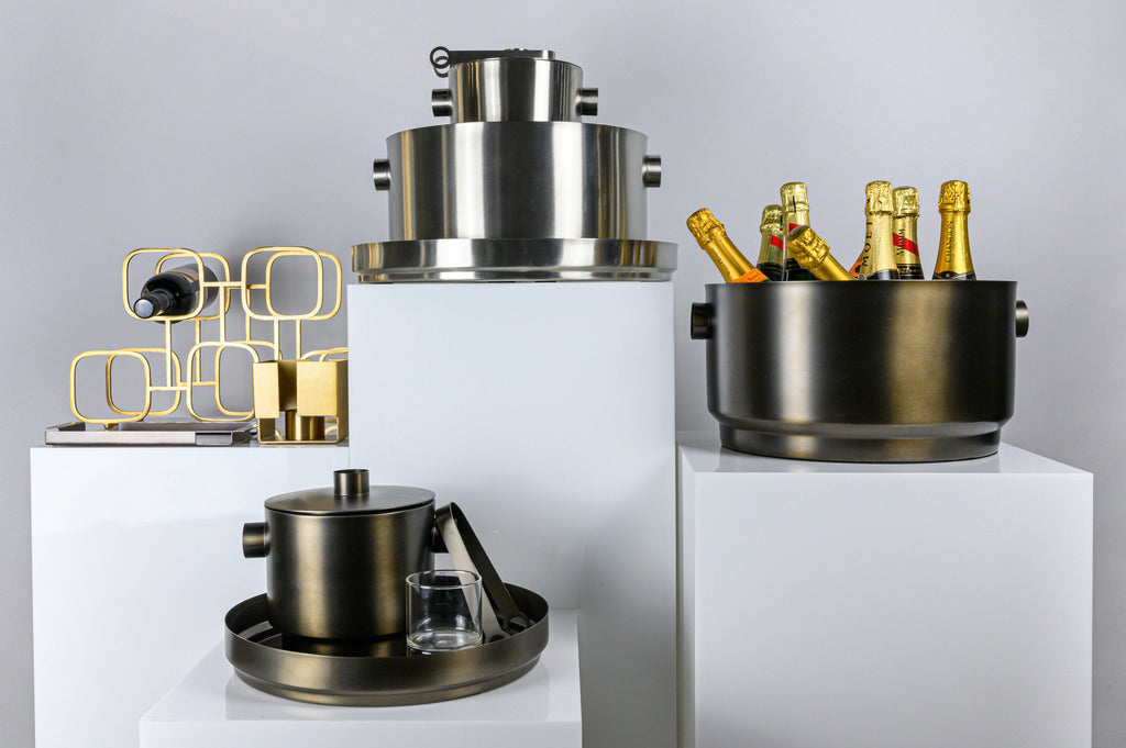XL Boom party bucket, ice bucket, tray and gavi wine holder in stainless steel, gold and soft copper