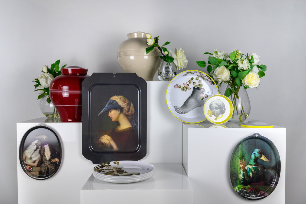 ibride stackable tableware made from melamine and mural trays of animal portraiture from laminate