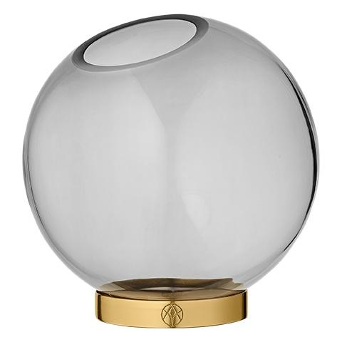 AYTM Globe Vase with Stand Black/Gold- M