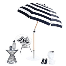 Load image into Gallery viewer, Basil Bangs Outdoor Basil Bangs Beach Umbrella Black and White Stripe: Chaplin