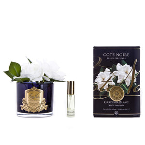 Cote Noire Double Gardenia Black Glass with Gold Crest