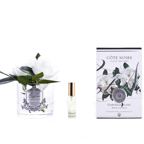 Cote Noire Double Gardenia Clear Glass with Silver Crest