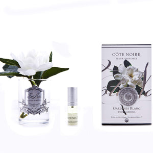 Cote Noire Single Gardenia Clear Glass with Silver Crest