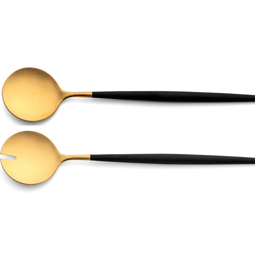 Cutipol Goa Matte Gold Salad Set- Black Handle